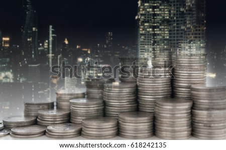 finance background,property fund concept . coins stack diagram with real estate business.