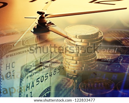 Finance background with clock face and money.
