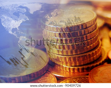 Finance background with coins and graph. Finance concept.