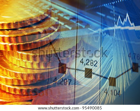 Finance background with coins, graph and laptop.