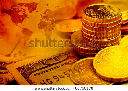 Finance background with dollars and euro cents. Finance concept.