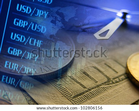 Finance background with market data and money. Finance concept.