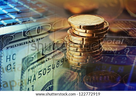 Finance background with money and pc. Finance concept.