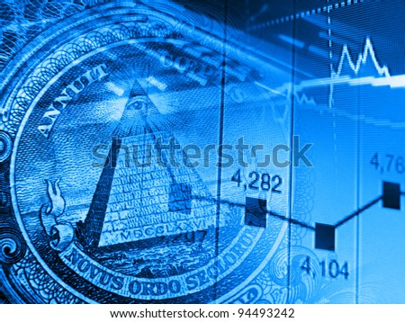 Finance background with one dollar detail pyramid and modern technologies.