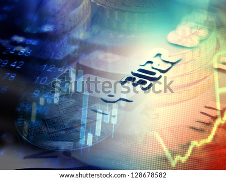 Finance background with stock market chart and credit card