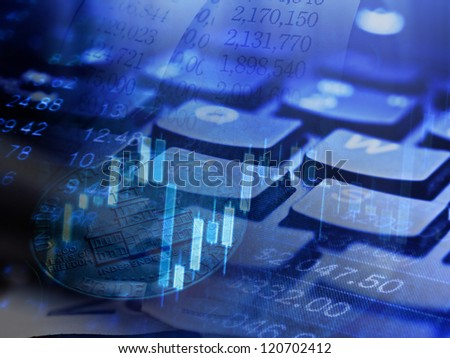 Finance background with stock market chart and keyboard