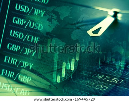Finance background with stock market chart, currency data and clock. Business concept.