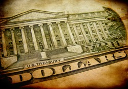 Finance background with symbols of dollar in grunge style