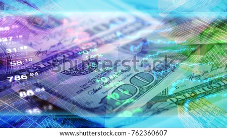 Finance, business, economy, invest wallpaper. Finance concept header 4K image or background in corporate design for economy and finance news. Stock market data at background of 100 US dollar bills.