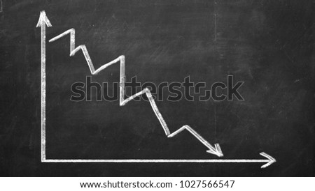 Finance business graph. Declining Line graph drawn with chalk on blackboard