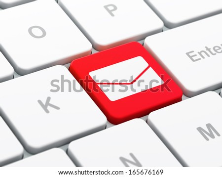 Finance concept: computer keyboard with Email icon on enter button background, selected focus, 3d render