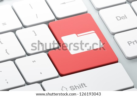 Finance concept: Enter button with Folder on computer keyboard, 3d render