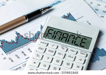 finance concept:finance displayed on calculator