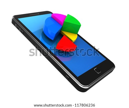 Finance concept: graph on mobile phone isolated on a white background