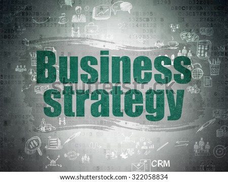 Finance concept: Painted green text Business Strategy on Digital Paper background with Scheme Of Hand Drawn Business Icons
