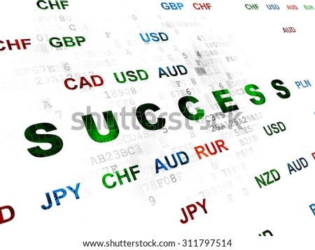 Finance concept: Pixelated green text Success on Digital wall background with Currency