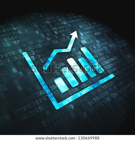 Finance concept: pixelated Growth Graph icon on digital background, 3d render
