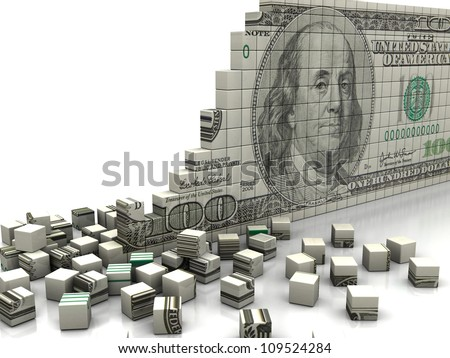 Finance concept: puzzle dollar with pieces near by
