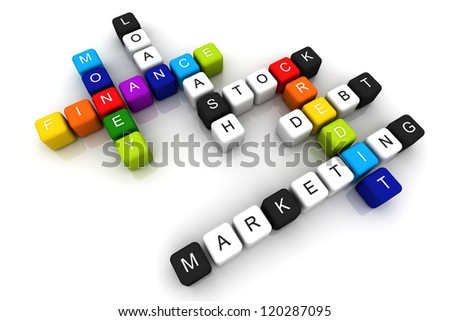Finance Credit colorful box Crossword 3D render