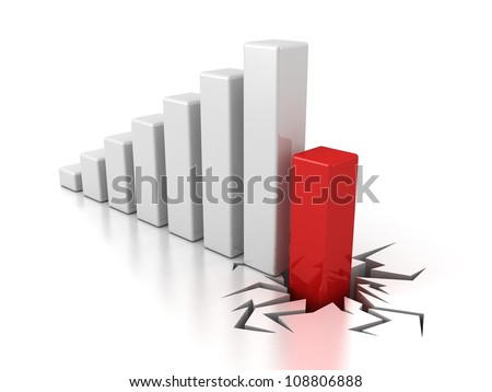 finance crisis bar graph diagram on white background