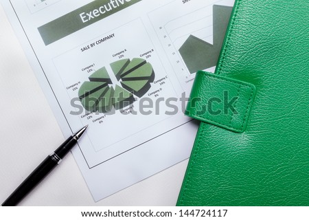 Finance document in green color set