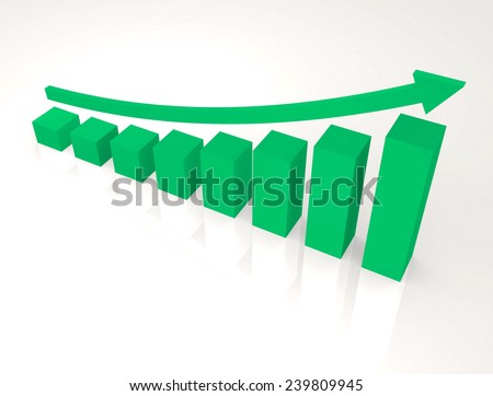 Finance graphic with curve arrow up,isolated background,green color tone