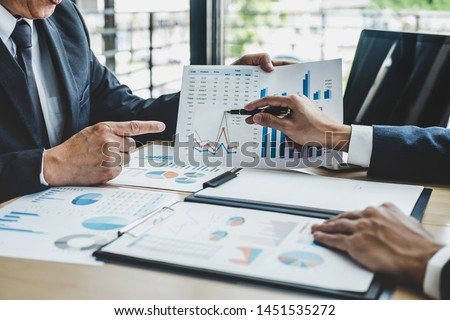 Finance manager meeting discussing company growth project success financial statistics, professional investor working start up project for strategy plan with document, laptop and digital tablet. #1451535272