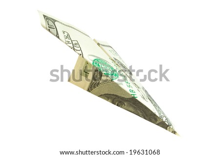 finance. money plane isolated on white