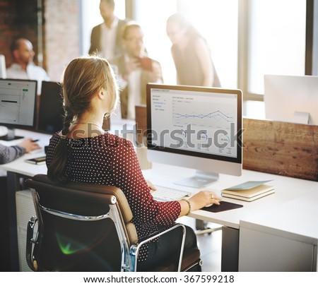 Finance Report Statistic Businesswomen Office Concept - Shutterstock ID 367599218
