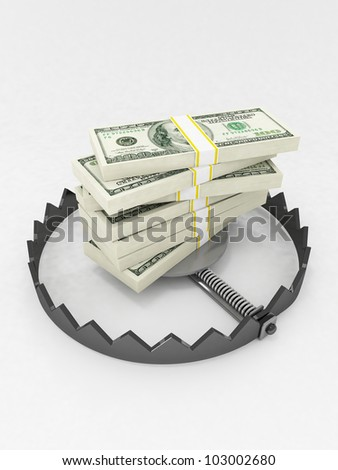 Finance risk concept. Dollar banknotes on bear trap. - stock photo