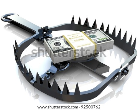 Finance risk concept. Dollar banknotes on bear trap.