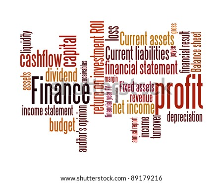 Finance terms and lingo info-text graphics and arrangement word clouds illustration concept