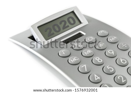 Finances 2020 calculator and white background