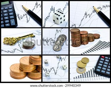 finances collage - stock photo