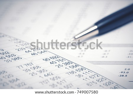 Financial accounting Pen on the balance sheets