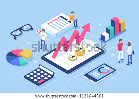 Financial administration concept with characters. Can use for web banner, infographics, hero images. Flat isometric illustration isolated on white background.