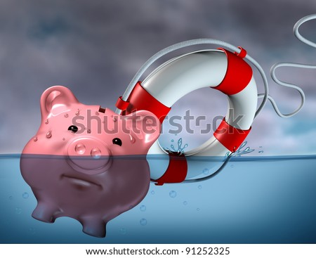 Financial Aid and rescue from debt problems for investments above water as a drowning pink piggy bank sinking in blue water with a life preserver as a symbol of urgent help from bankruptcy.