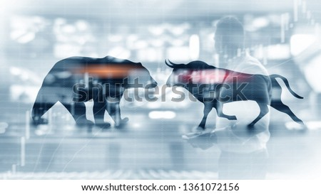 Financial and business abstract background with candle stock graph chart. Bull and bear concept traders concept