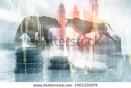Financial and business abstract background with candle stock graph chart. Bull and bear concept traders concept.