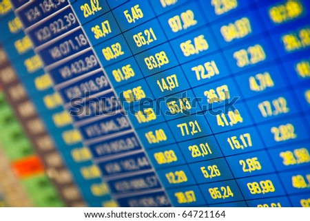 Financial and stock exchange data on computer screen. Shallow depth of field