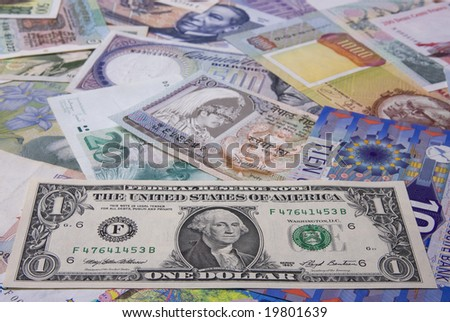 Financial background - Assortment of banknote (Focus on the Dollar)