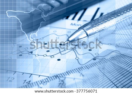 financial background in blues with map buildings calculator table
