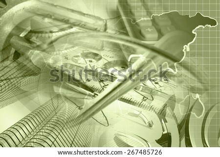 Financial background in sepia with buildings, calculator, map and pen.