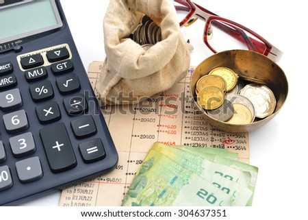 Financial background with money, calculator