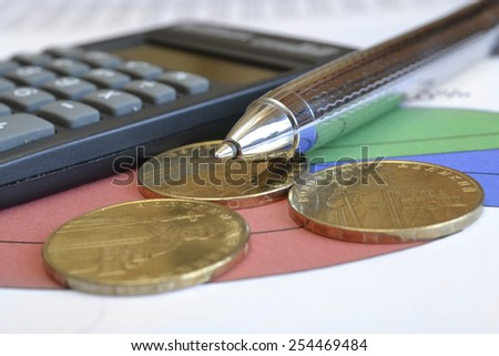 Financial background with money, calculator, table and pen.