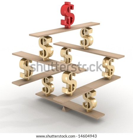 Financial balance. Stable equilibrium. 3D image. - stock photo