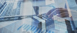 financial banner background for business, finance and investment, double exposure