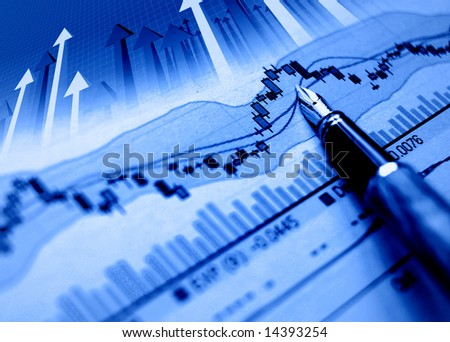 financial blue chart stat background and arrows