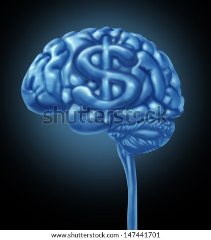 Financial brain business concept as a human thinking organ with a dollar symbol as part of the gray matter for strategy thinking to make and save money and intelligent budget management.