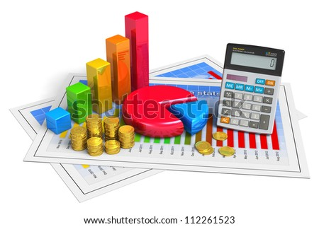 Financial business, analytics, banking and accounting concept: pie chart, bar graph, golden coins and office calculator on successful economical reports isolated on white background